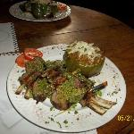 Mint Basil Pesto Lamb Chops & Stuffed Pepper we cooked in Class