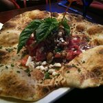 Appetizer - Stone fire flat Bread with Babaganush, Feta, Basil, Tomatoes, and Prosciutto