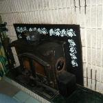 fireplace in the living room area