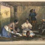 Preparando Tortillas en el metate-Nicaragua Colonial