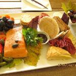 $Aud65 cheese platter with delicious salmon which was shared between 8 of us altogether.