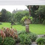 View of the gardens and gentle rain from the guest lounge