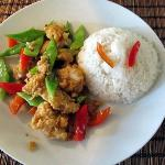 Stirfry of fried fish with garlic, chillis, snowpeas, capsicum and rice (lunch special)