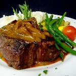 Grilled 8 oz filet mignon with portobello thyme demi glace