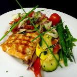 Grilled Atlantic salmon with a tomato fennel relish
