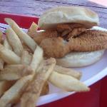 The fish sandwich and fries.