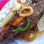 Brown Stew Fish with Yam, Breadfruit, Slaw and Homemade French Fries