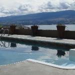 Salt water pool overlooks Okanagan Lake