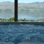 Hot tub with the beautiful view of the Okanagan Lake