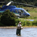 Heli-Fishing at Tweedsmuir Park Lodge. Photo: Mike Wigle