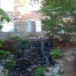 Waterfall feature on the pond side of the hotel