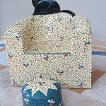 Tiled chair with cat