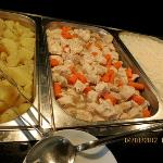 Buffet - boiled chicken & boiled potatoes