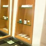 Bathroom shelves + toiletries