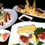 Geisha Roll (Shrimp), Spring Jamie Roll (designed plate), Spicy California Roll & Tuna Dragon Ro