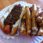 Chili Cheese Dog w/ Gravy Cheese Fries