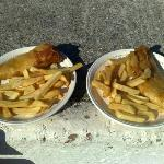 We bring our own plates. These are 2 medium cods with one shared portion of chips