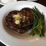 A perfect medium rare steak and young asparagus.