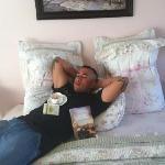 relaxing in the salt water taffy room