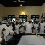 Cake mixing ceremony at the resort