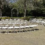 Wedding ceremony garden area