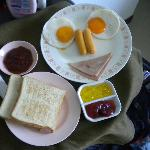 Simple breakfast given to us, for the bed bugs