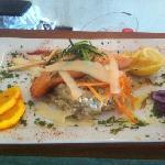 saumon roti sur son lit de rosotto au parmeggiano