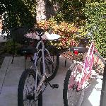 Our patio and bikes