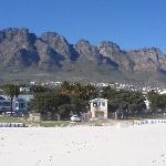 PAnoramic view of Camps Bay from the beach during the morning hours