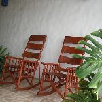 Comfy rockers to relax in outside our room
