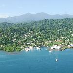 An aerial view of the Port Antonio Marina to the left, Boundbrook Banana Wharf center and the Po