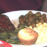 Chopped steak plate with corn and fried okra at Sunset