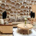 A wall of baskets in one of the lounges