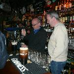 Learning the art of pouring a pint.