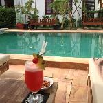 cocktails by the pool, after Temples!
