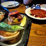 Burger and pasta