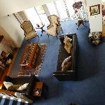 Nice lounge area w/ small fireplace.