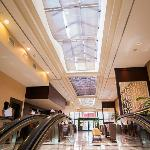 Up the escalator from lower lobby to main lobby