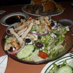 huge greek salad with chicken - so yummy
