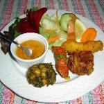 Het voorgerecht van het Nepali Thali-menu