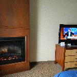 fireplace and flatscreen tv