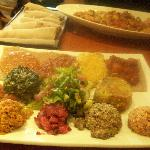 veggie platter, chicken tibs, and injera