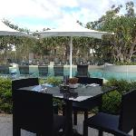 the pool area from the restaurant.