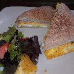 Mediterranean Breakfast Sandwich & Fruit Salad