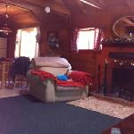 this shows the fireplace at The Bluebird Cabin