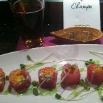 "The ""Angel Roll"" mango, avocado and crab wrapped in delicious red tuna"