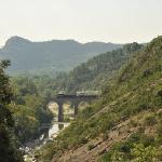 Vue viaduc avec Train à Vapeur des Cévennes