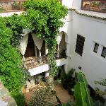 Sicht von der Terrasse in den Patio