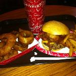 BBQ burger and onion rings