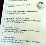 Auszug aus der Speisekarte